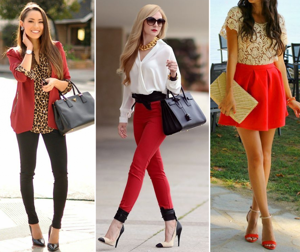 ideias de looks com vermelho